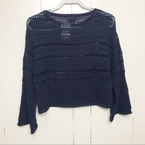 CENY Black Navy Crochet Sweater NWT